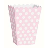 Uitdeel Box Dots Licht Roze 14,5cm - 8 stuks