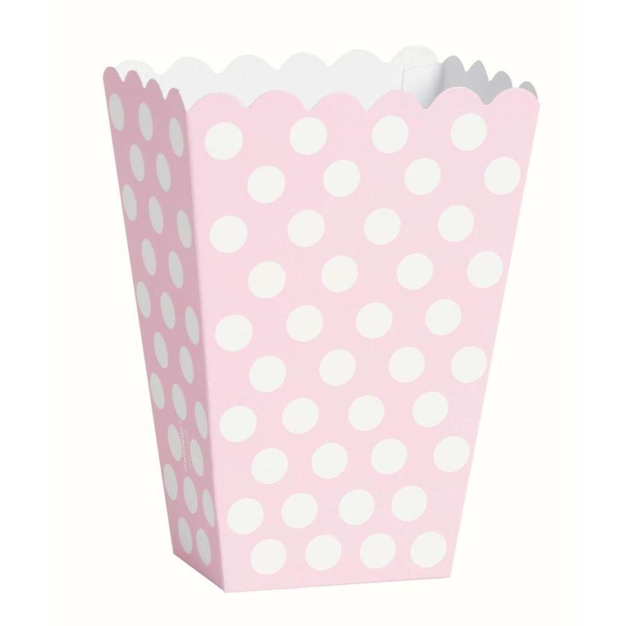Uitdeel Box Dots Licht Roze 14,5cm - 8 stuks-1