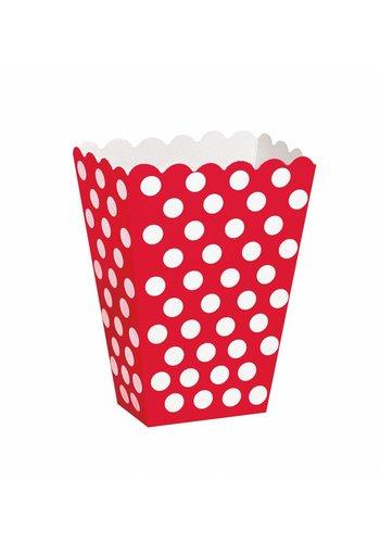 Uitdeel Box Dots Rood 14,5cm - 8 stuks