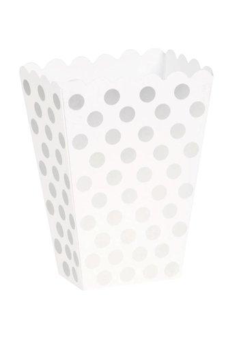 Uitdeel Box Dots Zilver 14,5cm - 8 stuks