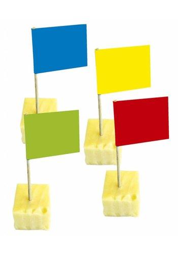 Prikkers Vlaggetjes gekleurd 10cm - 50 stuks