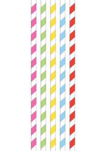 Papieren rietjes assortie kleuren - 20 stuks