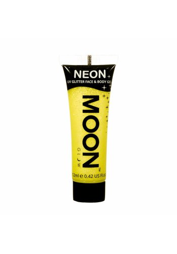 Neon UV Glitter Face & Body Gel - Geel - 12ml