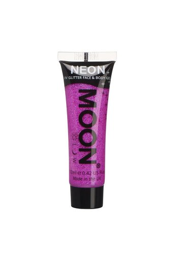 Neon UV Glitter Face & Body Gel - Paars - 12ml