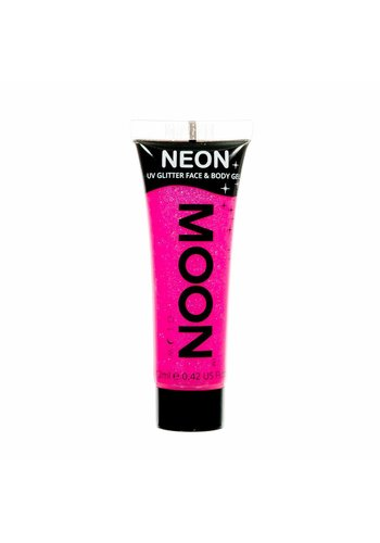 Neon UV Glitter Face & Body Gel - Pink - 12ml
