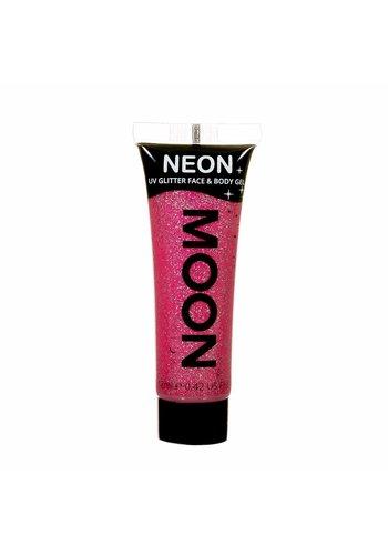 Neon UV Glitter Face & Body Gel - Ruby Pink - 12ml