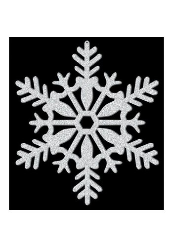 Hanging Decoration Snowflake Silver Glitter - 28cm