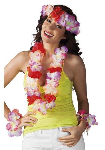 Hawaïset Sunshine 3 kleuren ass. (hoofdband, hawaïkrans en 2 armbanden)