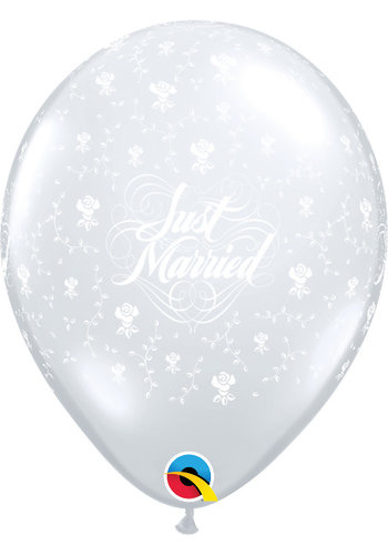 "11"" Just Married Flowers A-Round - Transparant (28cm)"