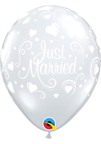 "11"" Just Married Hartjes A-Round - Transparant (28cm)"