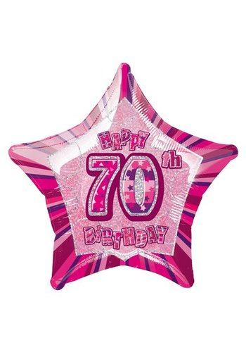 Folieballon - Happy 70th Birthday roze - 45cm