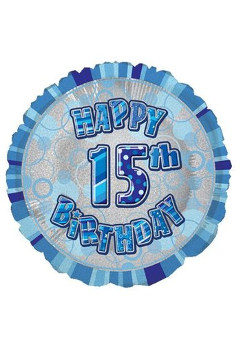 Folieballon - Happy 15th Birthday blauw - 45cm