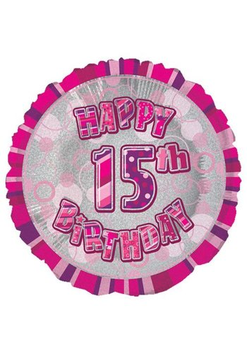 Folieballon - Happy 15th Birthday roze - 45cm