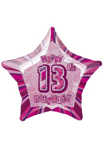 Folieballon - Happy 13th Birthday roze - 45cm
