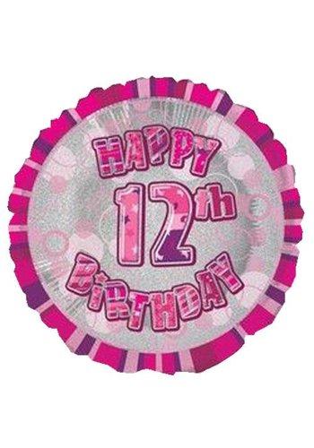 Folieballon - Happy 12th Birthday roze - 45cm