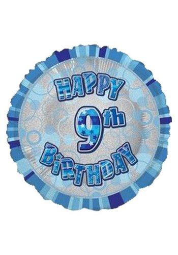 Folieballon - Happy 9th Birthday blauw - 45cm