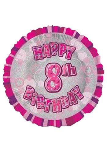 Folieballon - Happy 8th Birthday roze - 45cm
