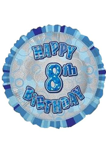 Folieballon - Happy 8th Birthday blauw - 45cm