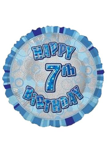 Folieballon - Happy 7th Birthday blauw - 45cm