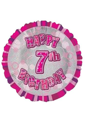 Folieballon - Happy 7th Birthday roze - 45cm
