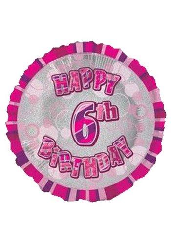 Folieballon - Happy 6th Birthday roze - 45cm