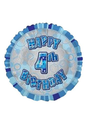 Folieballon - Happy 4th Birthday blauw - 45cm