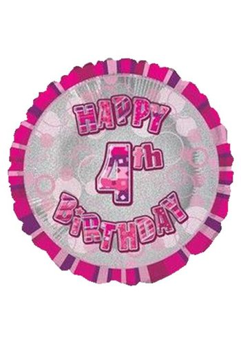 Folieballon - Happy 4th Birthday roze - 45cm