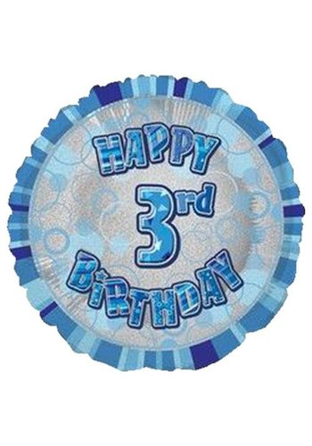 Folieballon - Happy 3rd Birthday blauw - 45cm