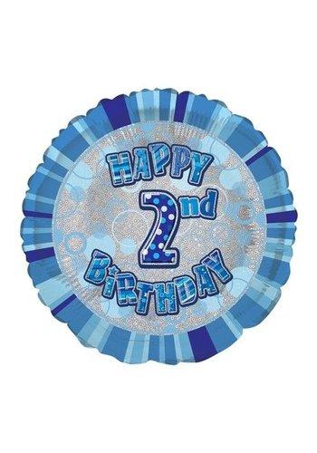 Folieballon - Happy 2nd Birthday blauw - 45cm