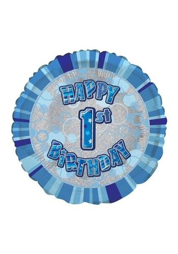 Folieballon - Happy 1ste Birthday blauw - 45cm
