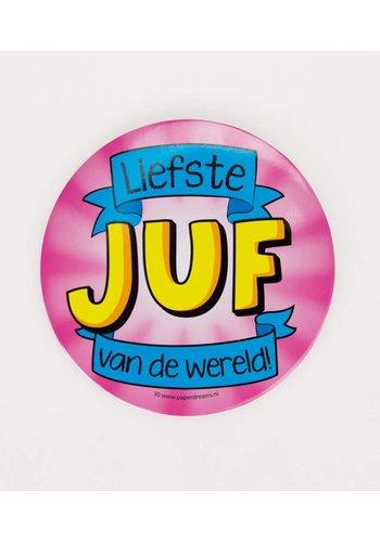 Button XL - Liefste Juf Van de Wereld - 10cm