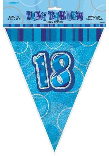 Blue Glitz vlaggenlijn 18 - 275cm