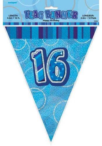Blue Glitz vlaggenlijn 16 - 275cm