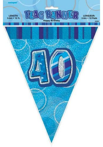 Blue Glitz vlaggenlijn 40 - 275cm