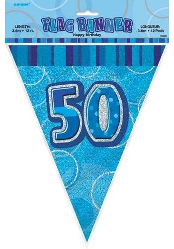 Blue Glitz vlaggenlijn 50 - 275cm