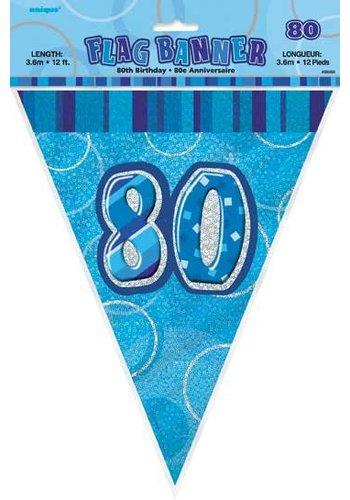 Blue Glitz vlaggenlijn 80 - 275cm
