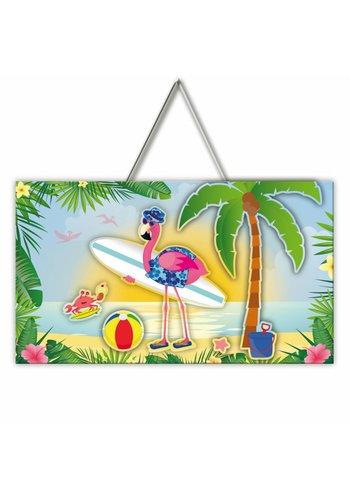 3D Deurbord Flamingo - 47x27cm