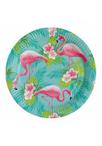 Bordjes Flamingo Paradise - 23cm - 8 stuks