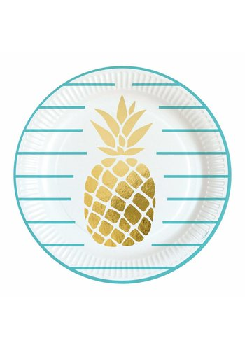 Bordjes Golden Pineapple - 23cm - 8 stuks