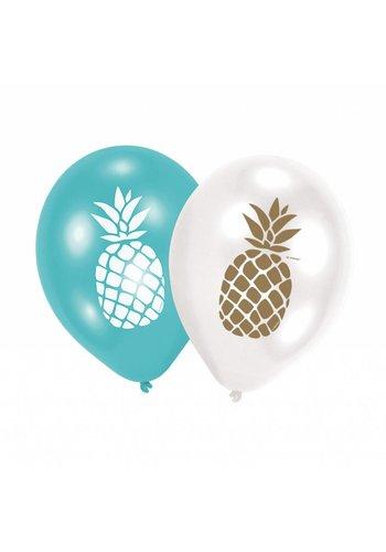 Ballonnen Golden Pineapple - 27,5cm - 6 stuks