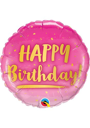 Folieballon Birthday Pink & Gold - 46cm