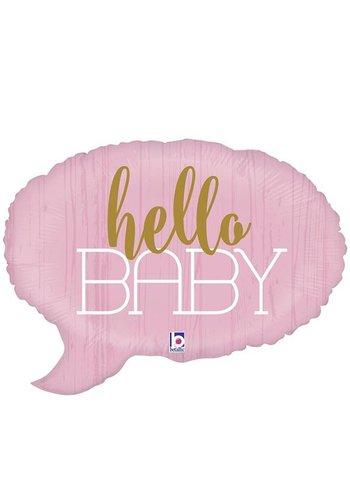 Folieballon Shape - Hello Baby Pink - 61cm