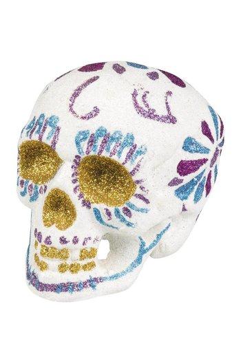 Sugar skull Glitter wit - 16x14cm