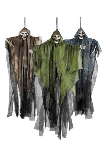 Decoratie pop - Skull ghost 3 kleuren ass. - 65cm