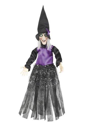 Decoratie Happy witch 3 kleuren ass. - 70 cm