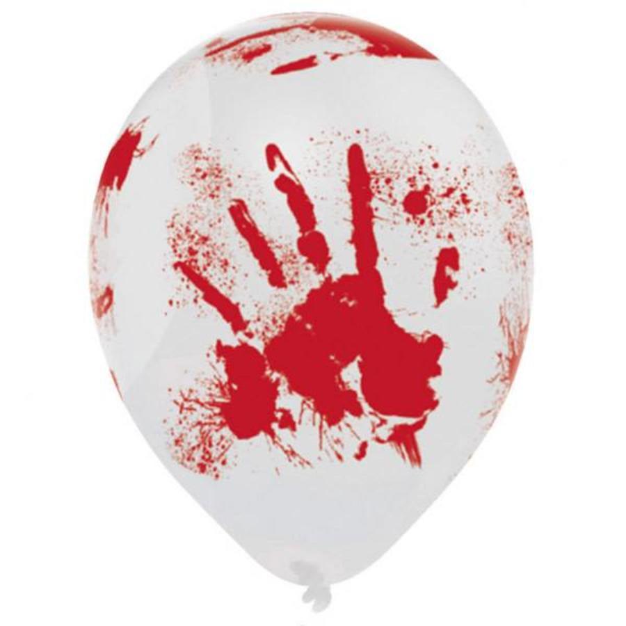 6 latex ballonnen bloedige hand - 25.4 cm-1