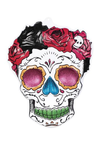 PVC wanddecoratie Mrs Day of the dead - 59 x 48 cm