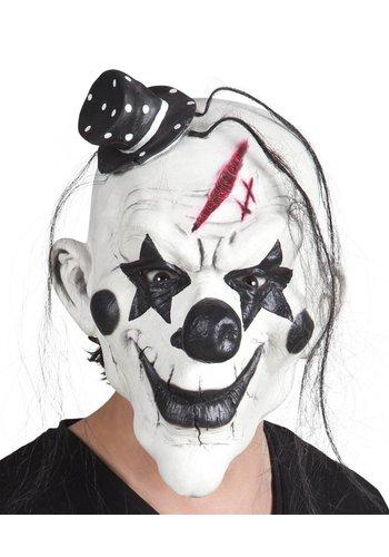 Latex hoofdmasker Psycho clown met haar