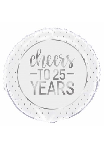 Folieballon - Silver Cheers 25th Anniversary - 45cm