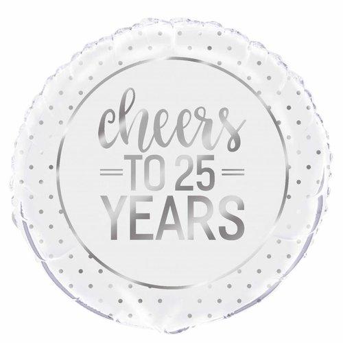 Folieballon - Silver Cheers 25th Anniversary - 45cm